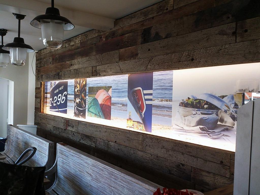 Foto behang wand bekleding mosselhuis presentatie beurs portfolio visiecom - Behang voor restaurant ...